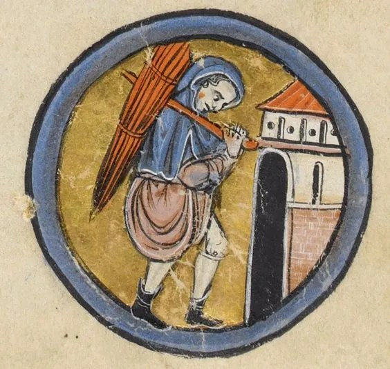 Peasant wearing a hooded cape, tunic, braies and short boots/shoes. c 1260