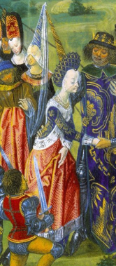 The Marriage of Catherine of Valois and Henry V of England in 1420 Surcote ouvertec. edged with fur over a dark blue cote. Notice how big the arm holes are now.
