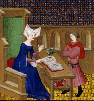 """Image of Christine de Pisan in a cotehardie. She wears a wired """"horned"""" headdress with a veil. France, 1410–11"""