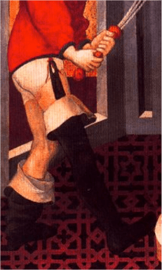 Round toed Chausses attached to the doublet by garters. c. 1420