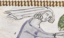 Woman with braided hair under a veil blowing in the wind. She is hunting rabbits. c 1300-1340