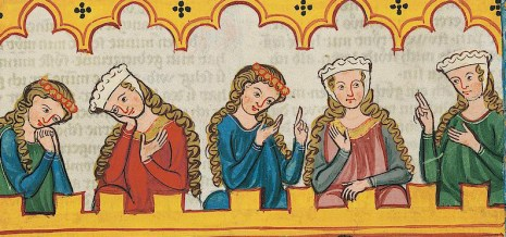 Three ladies with barbette & a chin band and two ladies with braids and a cicle around the hair. c. 1300 - 1340