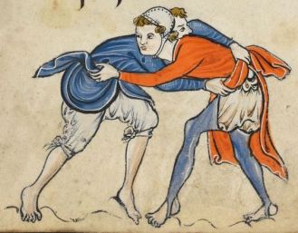 Wrestling men c. 1260 in braies. One man is wearing chausses over his trewes