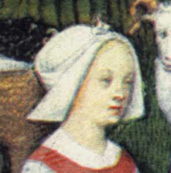 Woman in an open hood, Late 1400's
