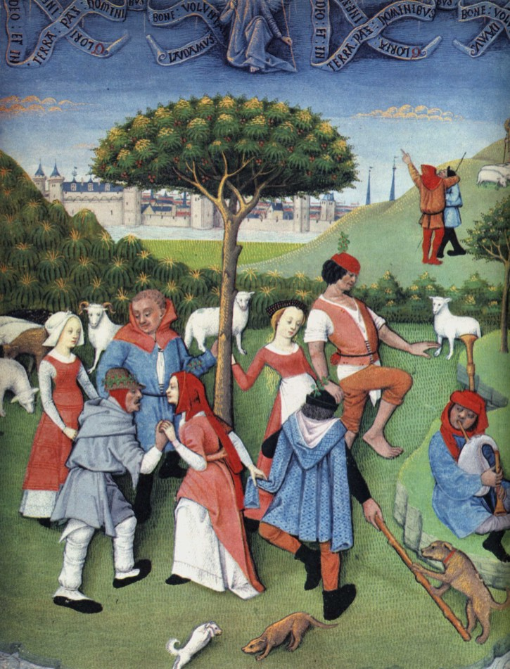 """Peasant round dance"" from the Hours of Charles d'Angouleme, French, late 15th century; in the Bibliothèque Nationale, Paris (MS. lat. 1173, fol. 20 v)."