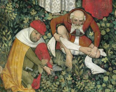 Men stripping off their hose. c. 1430
