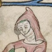 Lady wearing a gorget and a rose pointed hood and hairnet/crespine. She looks to be outdoors.