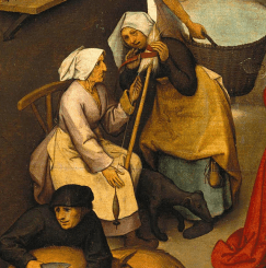 Two women spinning and talking, 1559