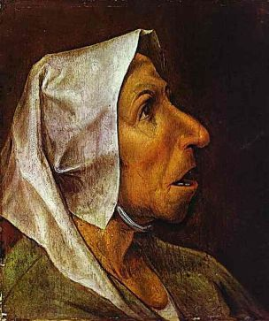Old woman wearing a hood or head dress, 1563