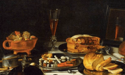 """Section of the painting Still Life With Musical Instruments"""" by Pieter Claesz, 1623. It looks like the postej is filled with fruit - among those an orange of some kind."""