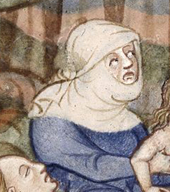 A servent woman wearing what looks like a veil wrapped around her head. Possibly a servant. 1300's