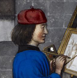 Painter wearing a red cap. Two ear flaps seem to be tied on the top of the head.