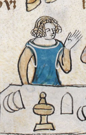 Rounded blue cyclas or a sideless surcote over a cream cote. c 1300 - 1340