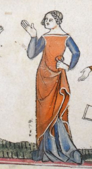Red cyclas over a dark blue cote. c 1300-c 1340