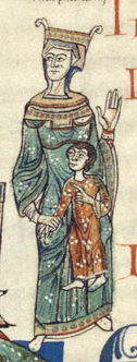 Queen in a green bliaut over a cote. She wears a loose jeweled hood under her crown. c. 1125-1150