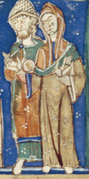 Man and woman. Both are wearing long loose tunics, that doesn't have a waistline. He is wearing a mantle and she is wearing a veil or open hood.