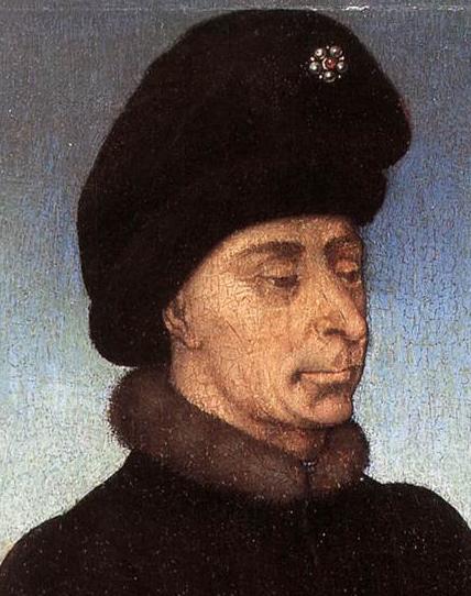Duke of Burgundy, mid 1400's wearing a black baggy hat.