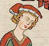 Man wearing a red chaperon with a fur trim, c. 1300-1340