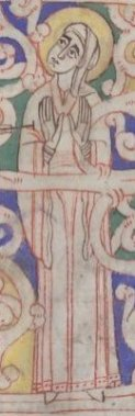 Woman wearing a bliaut with a narrow sleeved cote underneath, c. 1125-1130