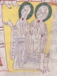 Woman wearing a bliaut with a long sleeved shift underneath, c. 1125-1130