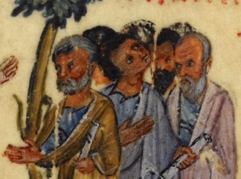 Group of elderly men (possibly the disciples). They look short haired and bearded with no head covering. One is clean shaven. 1000's