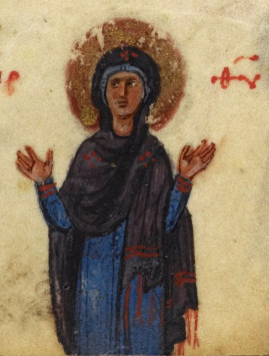 Probably the virgin Mary with her head covered both in a (palla) cape over her head and something under it. 1000's