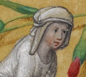 Veil wrapped around her head while pushing a cart. c. 1485-1490