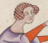 Lady with her hair under a hairnet of some sort. The Luttrell Psalte, 1325-1340