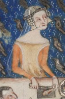 Rounded red cyclas or a sideless surcote over a red cote. Notice the wide neckline on both dresses. c. 1325-1340