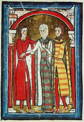 Queen wearing waht looks to be a cyclas and a matching mantle over a white cote. 1100's