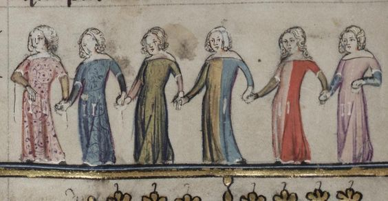 Parti-coloured cotehardies, 1300's