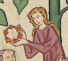Lady with long hair and a flower circle around her hair, c. 1340