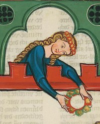Lady with long hair with a circle of circles, c. 1340 Cod. Pal. . Germ 848 Large Heidelberg Song Manuscript (Codex Manesse) - Zurich, about 1300 to about 1340