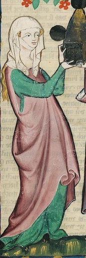 Woman in a rose cyclas over a turquoise cote. c. 1300-1340