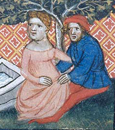 Woman and her lover in a cote with a very wide neckline, c. 1390