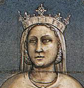 Queen justice wearing a crown, veil and her hair braided and pined. Justice, Giotto, 1306, Italy