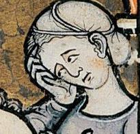 Worn like the St. Birgitta's Huva on the far right, c. 1280