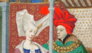 """Lady wearing a wired """"horned"""" headdress with a veil and a man in a chaperon in a fancy style. c. 1410-1430"""