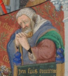 Elderly man wearing an untied embroided coif, c. 1410-1430 the Bedford Hours c. 1410-1430