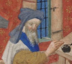 Grumpy scribe or scholar wearing a chaperon in a turban style. He has a split grey beared, c. 1410-1430 the Bedford Hours c. 1410-1430