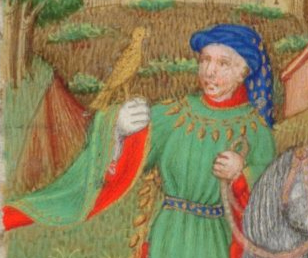 Falconer wearing a blue chaperon with a gold pattern c. 1410-1430 the Bedford Hours c. 1410-1430