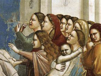 """""""The Massacre Of The Innocents"""" Giotto, 1305, Italy. These are biblical woman (I think) so we should take the scene with a grain of salt, but the painter has clearly seen women with this kind of hair styles before."""