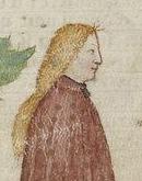 Lady with loose curly hair. 1300's Bibliothèque nationale de FranceFrançais 343: 'La Quête du Saint Graal et la Mort d'Arthus' by Gautier Map fol. 49v