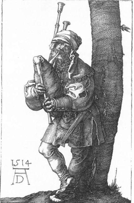 """""""Bagpiper"""". Albrecht Dürer, 1514,"""