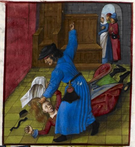 The jealous husband is wearing a blue robe. We can clearly see the seems. He is also wearing a black belt and a large belt purse. On his head he wears a black hat. He has gribbed her wife by the hair leaving her veil and cap on the floor. She is wearing a red surcote with a green cote underneath. Black hose and small black shoes. The neihbours in the background also have pretty interesting clothing. Detail of a miniature of a jealous husband beating his wife, while neighbours look on, Harley MS 4425, f. 85r, c 1490-c 1500