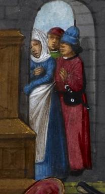 The neihbours: The lady is wearing a blue cote, a white head wrap and an apron. The man is wearing a red robe belted with a purse. He is wearing a soft blue hat while the man in the background looks to wear a red bag hat. Detail of a miniature of a jealous husband beating his wife, while neighbours look on, Harley MS 4425, f. 85r, c 1490-c 1500