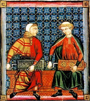 Musicians wear two long tunics, one over the other. The tunic on the left is an early example of mi-parti or particolored clothing, made from two fabrics. Cantigas de Santa Maria, mid-1200's, Spain.