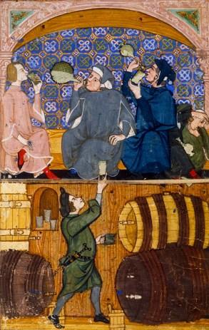 Wine drinking, c. 1330-1340 From: 'Trattato sui sette vizi' (1330-1340 circa), British Library, Londra.