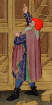 Might this be the architect or the benefactor? Detail from the Bedford Hours c. 1410-1430