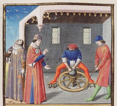 A potter at his wheel From: Nigidius and his argument about the fate of twins, derived from the potter's wheel, The City of God (MMW 10 A 11, fol. 232v), c. 1475-1480